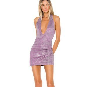 superdown Hannah Shimmer Halter Dress in Violet